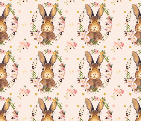 """7"""" - Some Bunny Loves Me - PINK fabric by shopcabin on Spoonflower - custom fabric"""