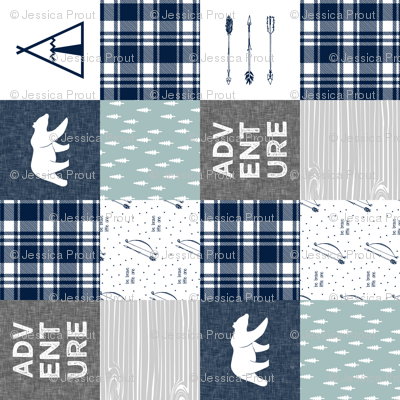Adventure Patchwork Fabric  (90)  || navy grey dusty blue - bear