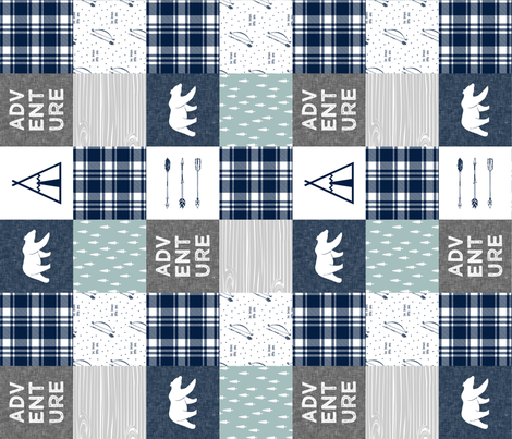 Adventure Patchwork Fabric  (90)  || navy grey dusty blue - bear fabric by littlearrowdesign on Spoonflower - custom fabric