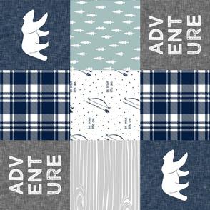 Adventure Patchwork Fabric  (90)  || navy grey dusty blue - bear