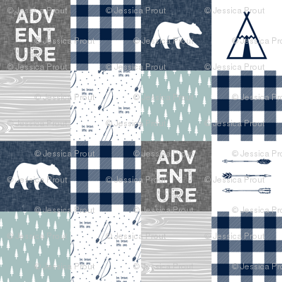 Adventure Wholecloth Bears & be brave - Navy dusty blue grey