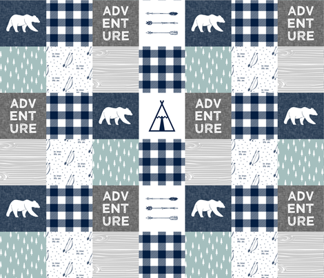 Adventure Wholecloth Bears & be brave - Navy dusty blue grey  fabric by littlearrowdesign on Spoonflower - custom fabric