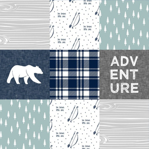 Adventure Patchwork Fabric   || navy grey dusty blue - bear