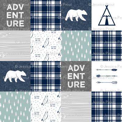 "5"" quilt blocks - Adventure Quilt top || bears navy dusty blue grey"
