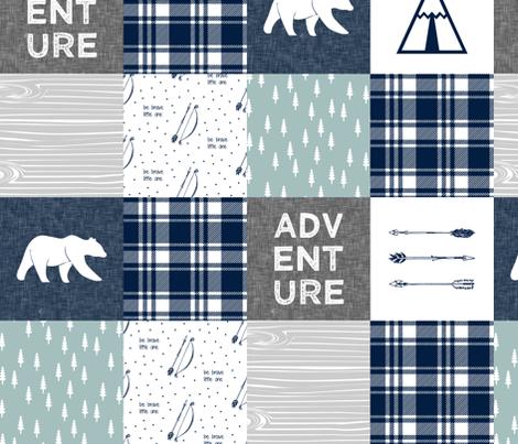 "5"" quilt blocks - Adventure Quilt top || bears navy dusty blue grey fabric by littlearrowdesign on Spoonflower - custom fabric"