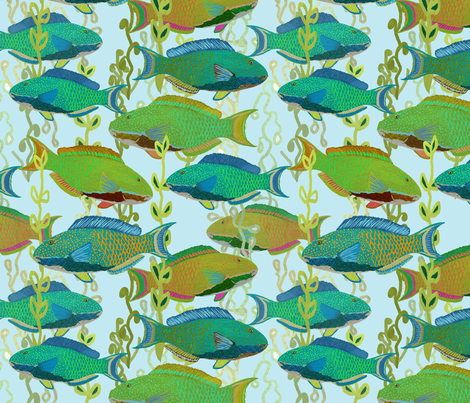 Seascape with parrotfish by Su_G fabric by su_g on Spoonflower - custom fabric