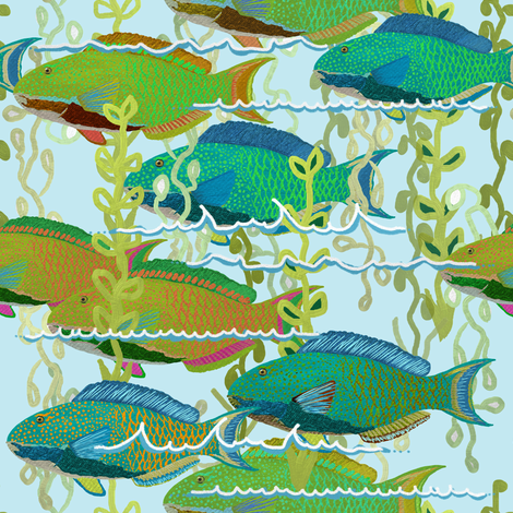 Parrotfish + sea fronds by Su_G fabric by su_g on Spoonflower - custom fabric