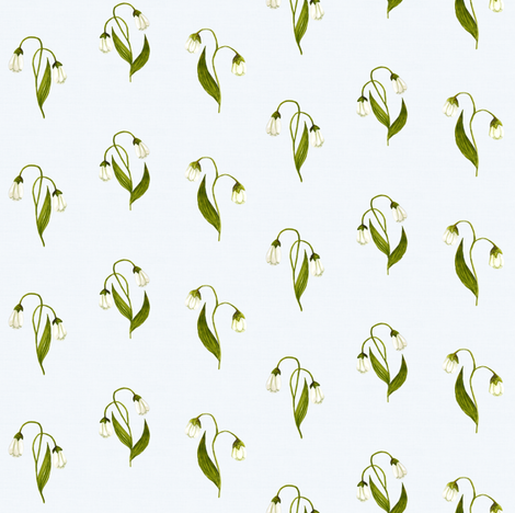 Lilly Green on White Linen fabric by thistleandfox on Spoonflower - custom fabric