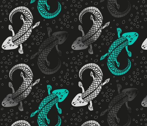 Tiktaalik seeks the shore fabric by pinky_wittingslow on Spoonflower - custom fabric