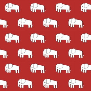 elephant fabric // red elephants fabric nursery baby fabric