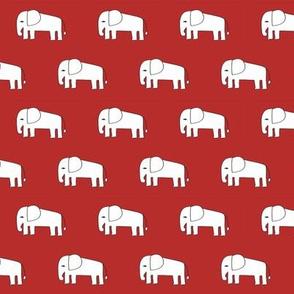 elephant fabric // red elephants fabric nursery baby fabric