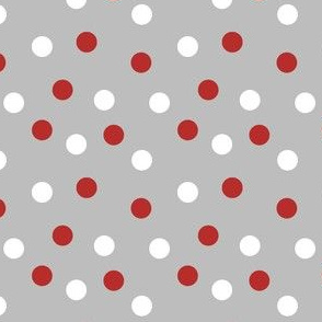 polka dots fabric // red and white dots on grey fabric grey nursery fabric