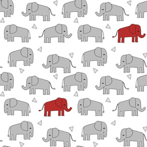 elephants //  grey and red elephant fabric nursery fabric red and grey mascot