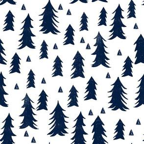trees // scandi tree fabric dark navy blue fabric
