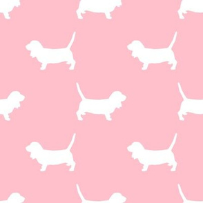 Basset Hound silhouette fabric blossom
