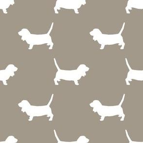 Basset Hound silhouette fabric medium green