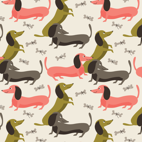 Dachshund trio begging for bones fabric by retrorudolphs on Spoonflower - custom fabric