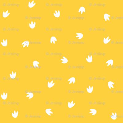 Dino Footprints Ditsy Mustard