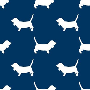 Basset Hound silhouette fabric  navy