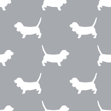 Basset Hound silhouette fabric quarry fabric by petfriendly on Spoonflower - custom fabric