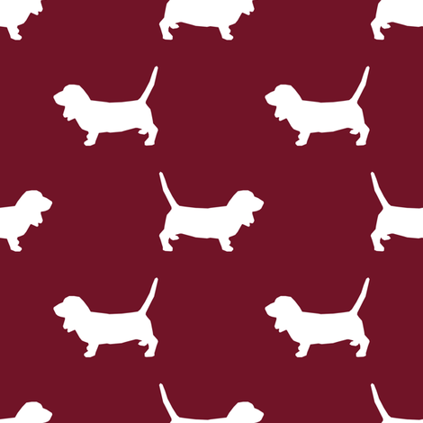 Basset Hound silhouette fabric ruby fabric by petfriendly on Spoonflower - custom fabric