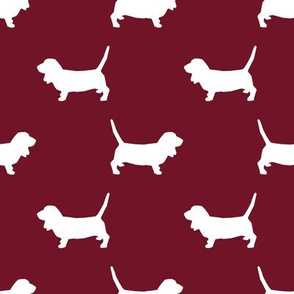 Basset Hound silhouette fabric ruby