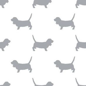 Basset Hound silhouette fabric grey