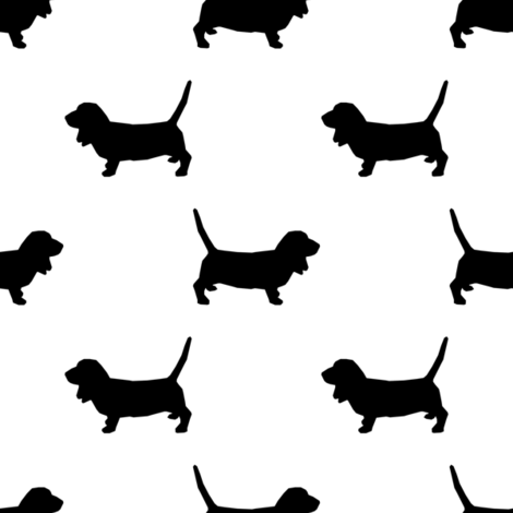 Basset Hound silhouette fabric white fabric by petfriendly on Spoonflower - custom fabric