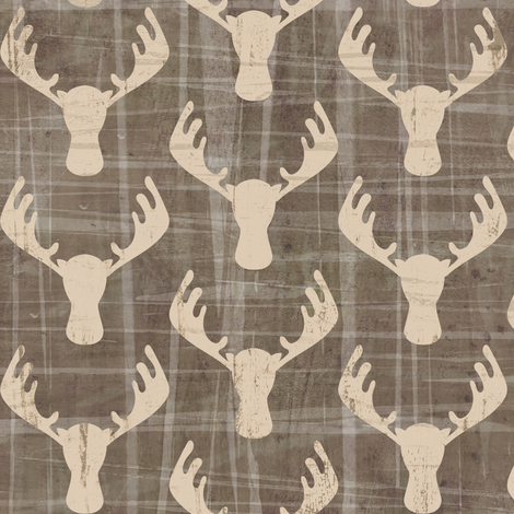 Moose Antlers in Washed Gray fabric by sarah_treu on Spoonflower - custom fabric