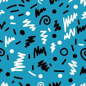 memphis fabric blue shapes 80s 90s revival fabric 2017 kids summer fabric