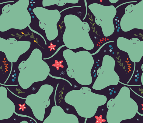Cute green stingrays  fabric by bluelela on Spoonflower - custom fabric