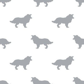 Border Collie silhouette white grey
