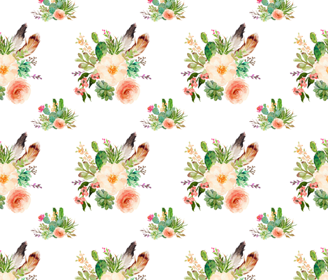 Jen's Floral Bunch /  WHITE fabric by shopcabin on Spoonflower - custom fabric
