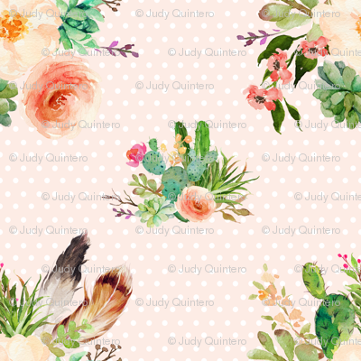 JEN'S FLORAL BUNCH / PEACHY PINK BACKGROUND & WHITE POLKA DOTS
