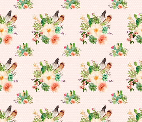 JEN'S FLORAL BUNCH / PEACHY PINK BACKGROUND & WHITE POLKA DOTS fabric by shopcabin on Spoonflower - custom fabric