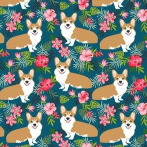 corgi hawaiian summer fabric corgi dog design