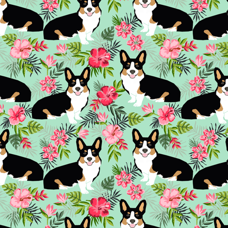 corgi hawaiian summer fabric corgi dog design mint tricolored corgi fabric by petfriendly on Spoonflower - custom fabric