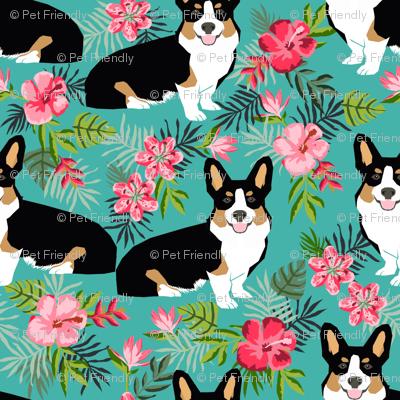 corgi hawaiian summer fabric corgi dog design mint tricolored corgi