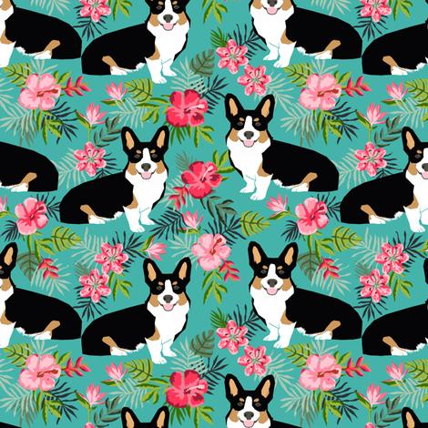 corgi hawaiian summer fabric corgi dog design mint tricolored corgi fabric by petfriendly on Spoonflower - custom fabric