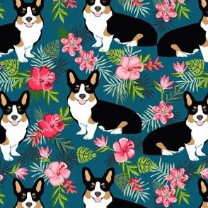 corgi hawaiian summer fabric corgi dog design mint tricolored corgi
