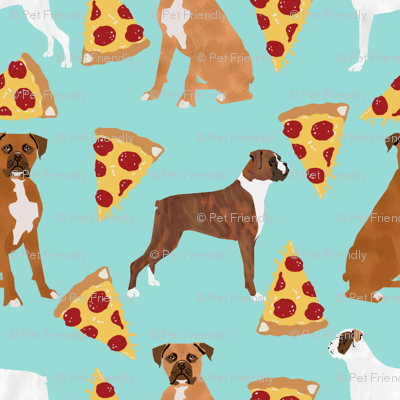 Boxer dog pizza fabric cute boxers fabric