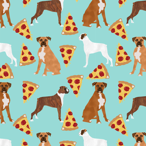 Boxer dog pizza fabric cute boxers fabric fabric by petfriendly on Spoonflower - custom fabric
