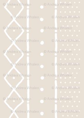 Mudcloth II white on bone (railroaded)