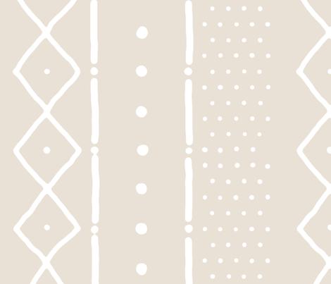Mudcloth II white on bone (railroaded) fabric by domesticate on Spoonflower - custom fabric