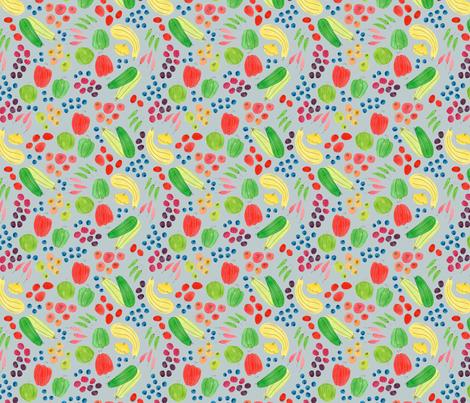 Eat a Rainbow in Light Grey  fabric by honeyberrystudios on Spoonflower - custom fabric
