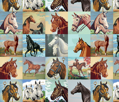 Paint By Number Horses - medium fabric by rawbonestudio on Spoonflower - custom fabric