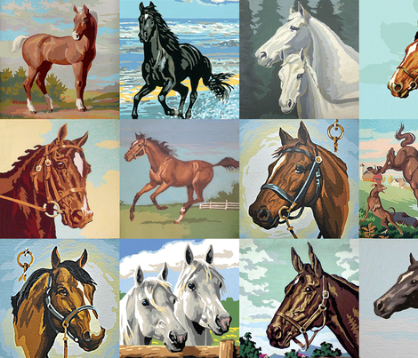 Paint By Number Horses - large fabric by rawbonestudio on Spoonflower - custom fabric