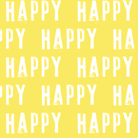 happy on yellow fabric by littlearrowdesign on Spoonflower - custom fabric