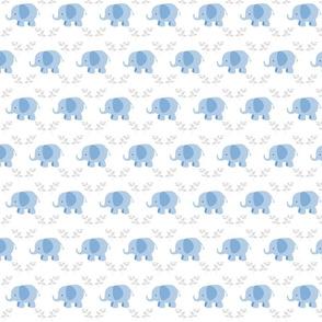 elephants in a row MINI -  blue gray leaves