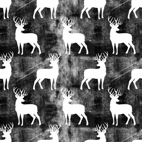 buck distressed - black fabric by littlearrowdesign on Spoonflower - custom fabric